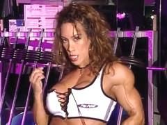bodybuilder aged in training center with high heels