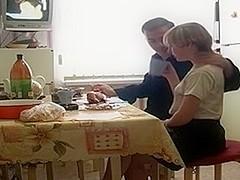 Russian mature couple has breakfast sex