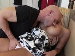 Wonderful busty blonde bitch demonstrates her professional skills