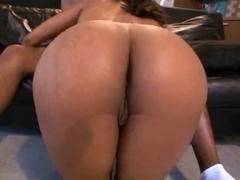Hot ebony sex on the couch with oral and cumshot