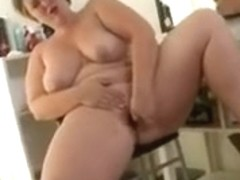 obese gal in solo with toys