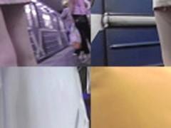 Upskirt porn with amateur brunette in a public place