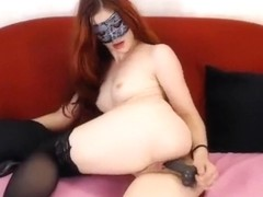 Hot FireGirlAlice hard sucking silicone cock and pussy fucked