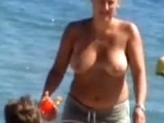 Topless beach, big tits