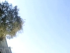 a perfect blond porn star upskirt slow motion in the sunshine