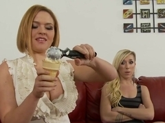 Mother Teachers Her Daughter How to Suck Cock