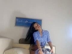 Hot busty teen strips on webcam