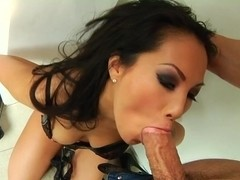 Asa Akira rams this hard dick down her slippery throat