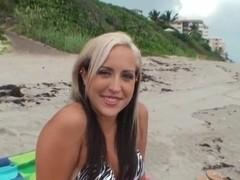 Josh playing with kinky Madison Minx on the beach