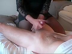 Stroking a long hard penis