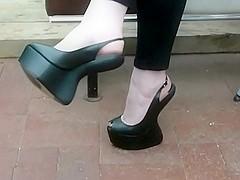7 inch Platform Heel less Sling back Peep toe Wedge Heels