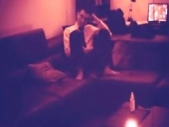 Office worker fucks his gf on the sofa after a hard day of work