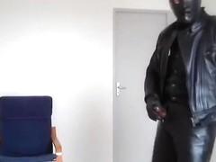 biker leather rubber mask smoke cigare