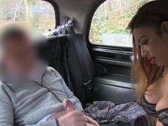 Huge tits ebony Brit bangs in fake taxi