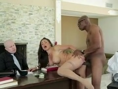 Busty milf secretary gets a facial from a black dude