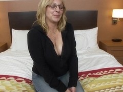 Slutty big tit old lady's first porn
