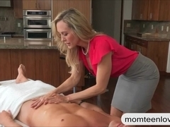 Big boobs stepmom Brandi Love 3some session on massage table