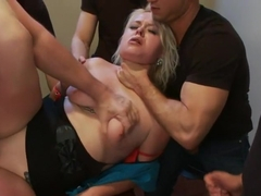 Curvy Blonde Lives out her Fantasy of Being Fucked in Every Holes