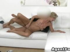Blonde waitress fucks fake agent