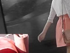 Amateur upskirt video by adorable brunette peach
