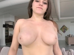 New girl with huge natural tits tries...
