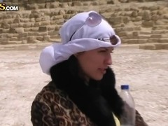 Beautiful Aurita sucking outdoors in Egypt