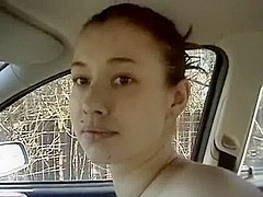 Youthful Redhead Beauty Blowjob in the Car