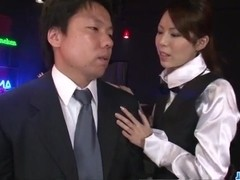Office bimbo, Rino Asuka, blows on a big dick