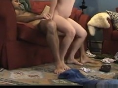 Having sex with a spanish student on the sofa