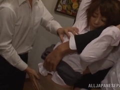 Petite juicy Japanese chick Saki Ninomiya in a wild group gang