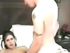 Wild wifey masturbates hard before pleasing her tattooed horny man