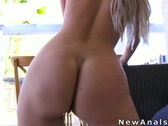 Natural busty blonde anal banged hard in backyard