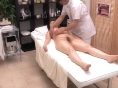 Japanese slut rides throbbing cock in voyeur massage video