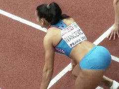 Athletic women warm up before a long race
