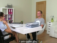 Tugging office amateur at casting
