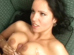 She gets double penetrated then drops to her knees so they cum on her