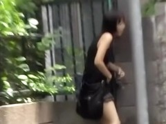 Asian babe has her hair pulled out during street sharking.