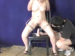 Big tits bitch hogtied and dominated