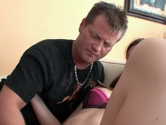 Charming young babe gives a sensual blowjob and then gets pounded hard