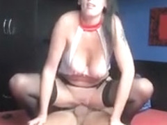 Busty wife in nurse outfit rides her man balls deep after giving blowjob