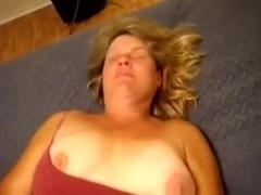 Obese and busty honey's cum-aperture being rubbed off in her daybed
