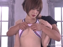 Yuria Satomi naughty milf in wet clothes gets dildo insertion