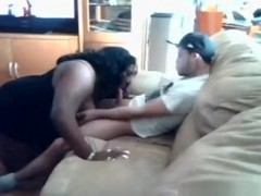 Skinny skater has sex with a huge black bbw on the sofa