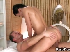 Bare brunette gets massage and sex