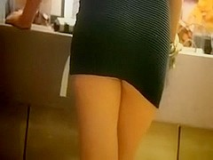 Hot and lascivious amateur beauty in hot dark dress in public