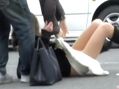 Skirt sharking right after she got out of her lovely car