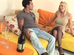 Blonde milf in stockings and heels fucks great (TOP MILF)