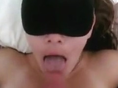 Connie blindfolded is fed ro...