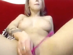Alluring blonde camgirl with lovely big boobs pleases her s