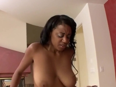 Sexy ebony with big titties sucks and fucks her new stepbrother